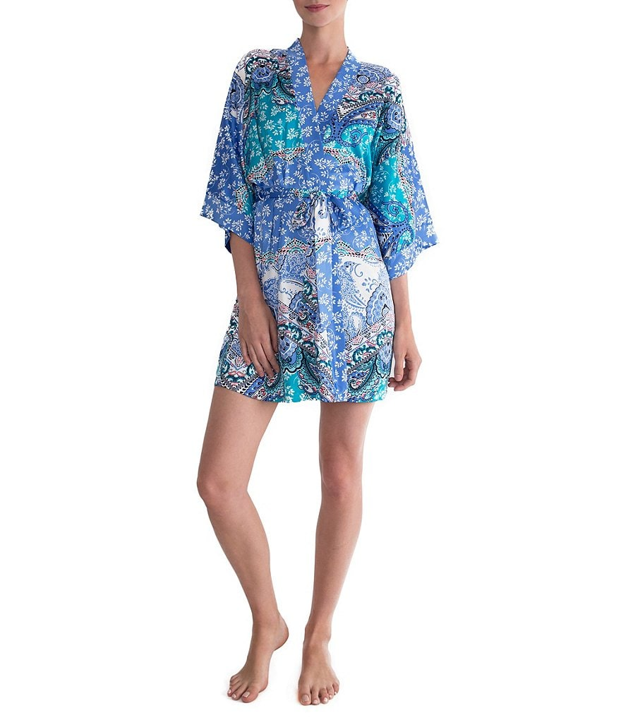 In Bloom by Jonquil Portugal Paisley Satin Wrap Robe