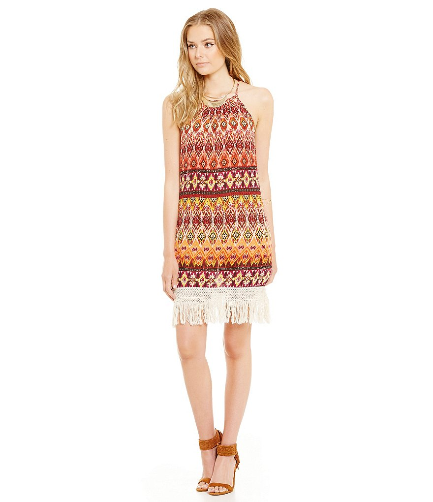 Band Of Gypsies Tribal-Print Fringe Hem Slip Dress