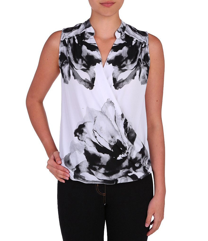 Peter Nygard Sleeveless Crossover Top
