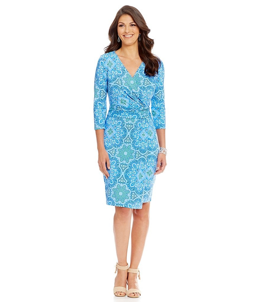 J.McLaughlin Brea Faux Wrap 3/4 Sleeve Dress