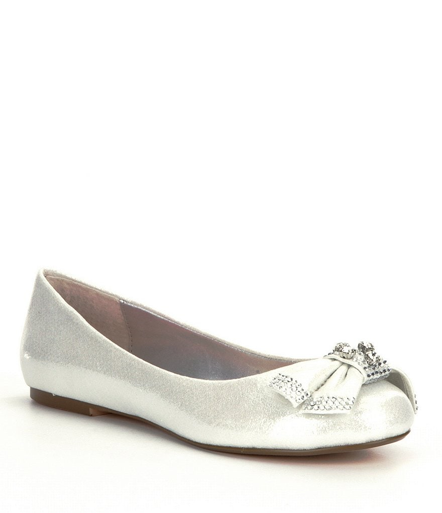 Betsey Johnson Emy Metallic Fabric Bow Detail Slip On Flats