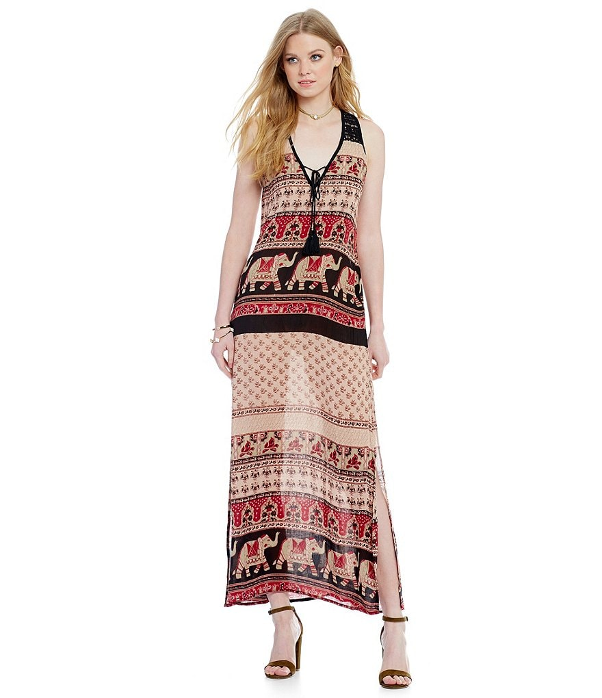Band Of Gypsies Elephant Print Maxi Dress