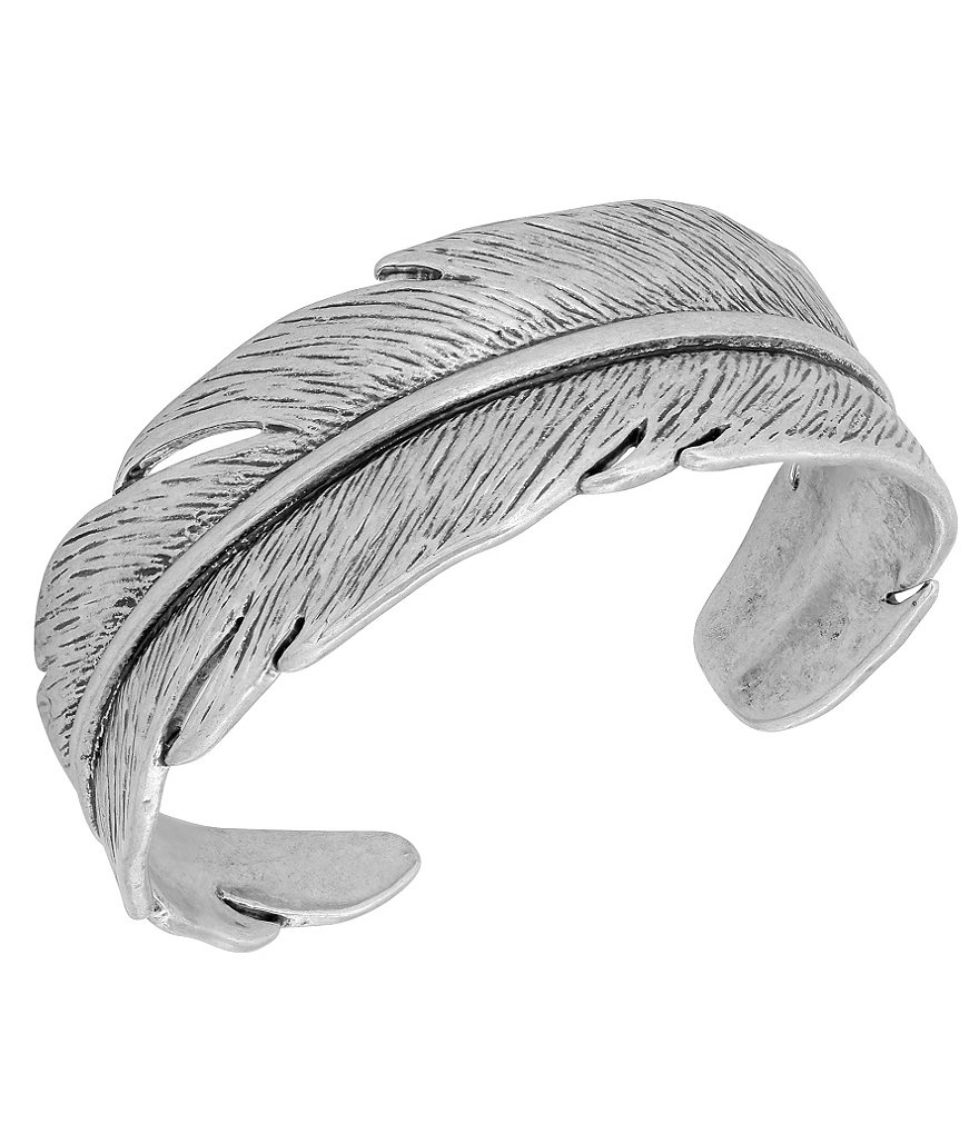 Lucky Brand Casted Feather Cuff Bracelet