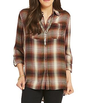 Jessica Simpson Dion Roll-Sleeve Plaid Shirttail Top
