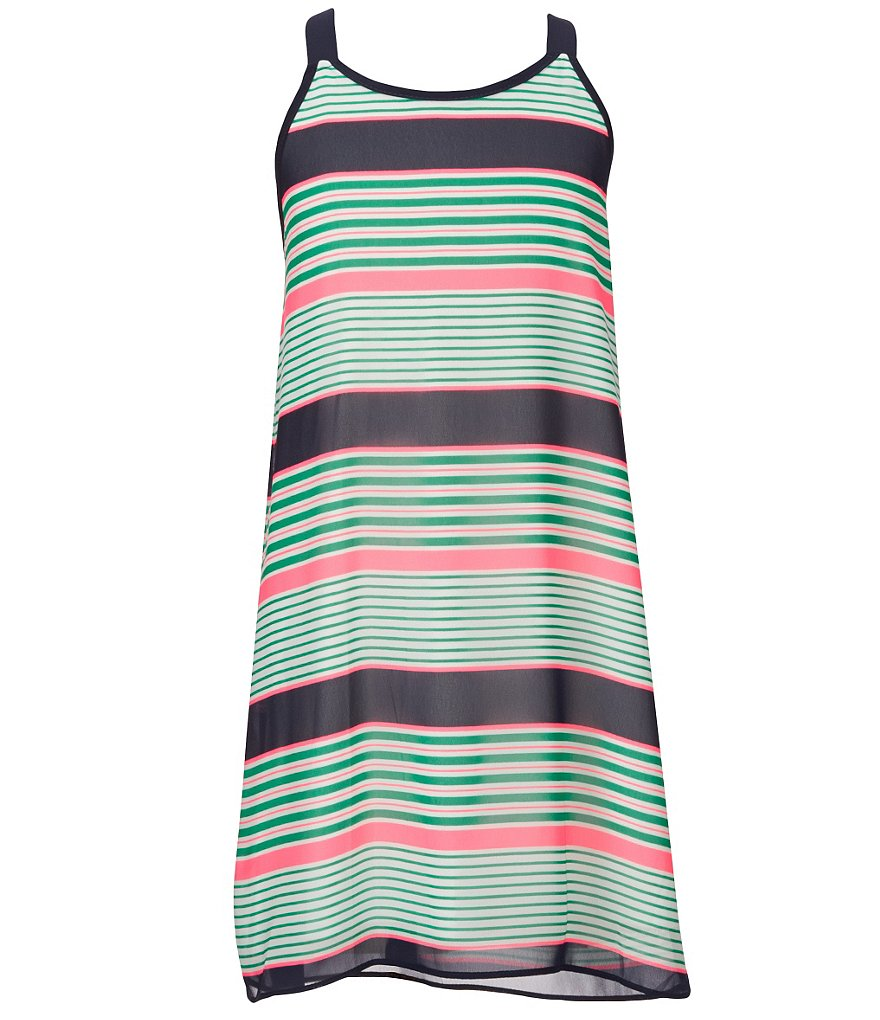 Soprano Big Girls 7-16 Spaghetti-Strap Multi-Stripe Dress