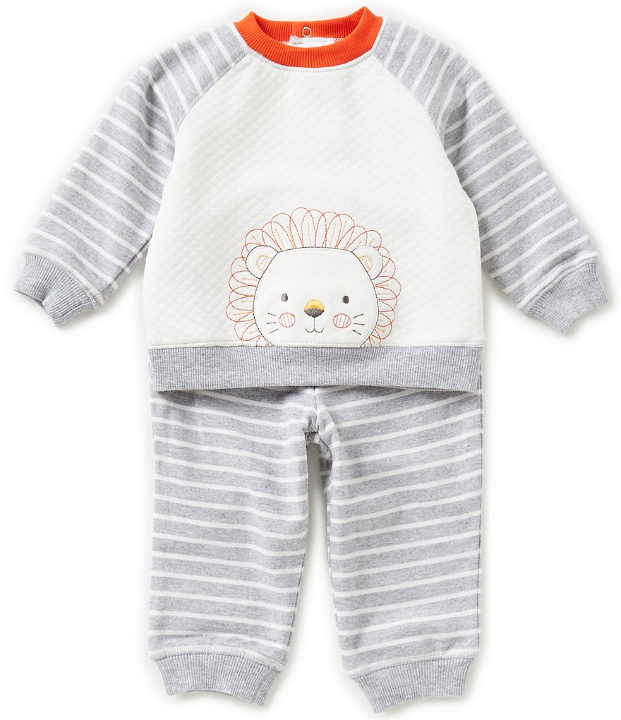Little Me Baby Boys 3-12 Months Lion Sweatshirt & Striped Pants Set