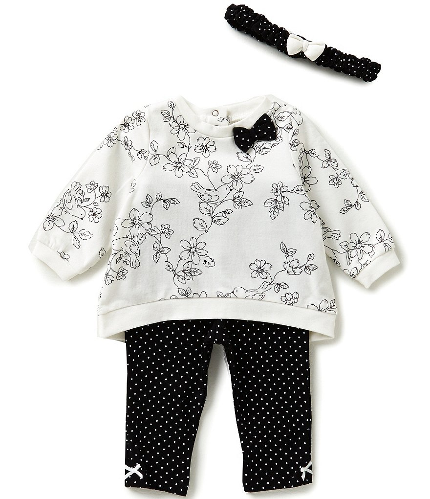 Little Me Baby Girls 3-12 Months Bird Toile Top & Dotted Leggings Set