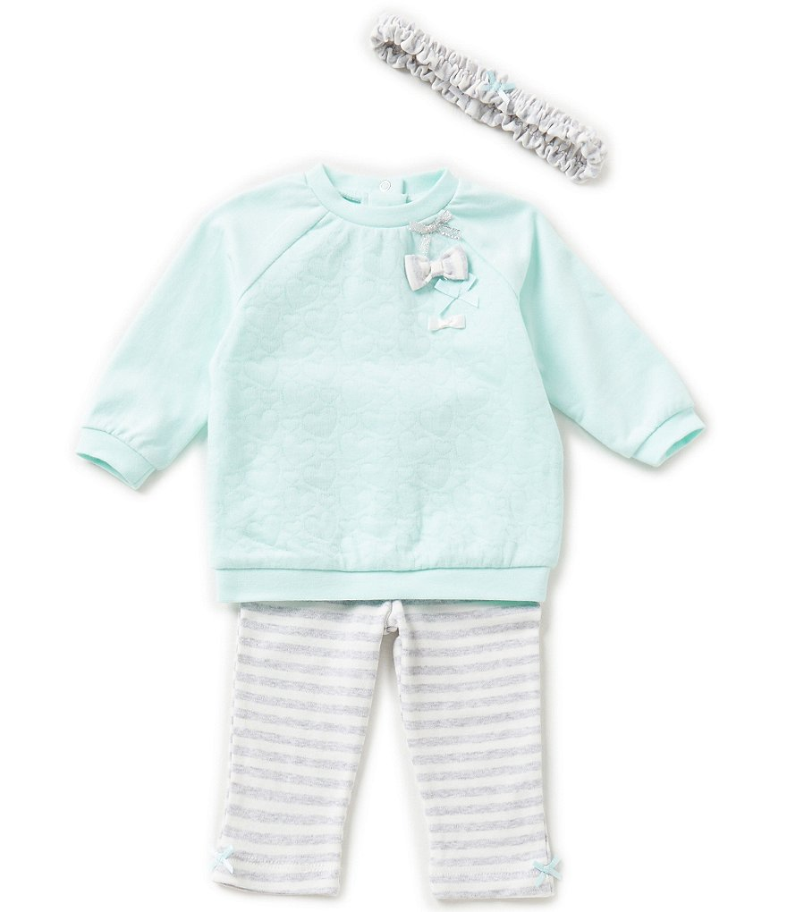 Little Me Baby Girls 3-12 Months Bow-Detailed Top & Striped Leggings Set