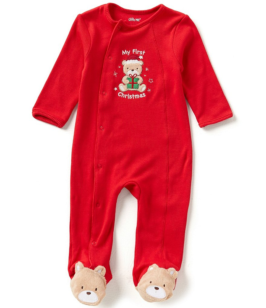 Little Me Newborn-9 Months My First Christmas Bear-Appliqué Footed Coverall