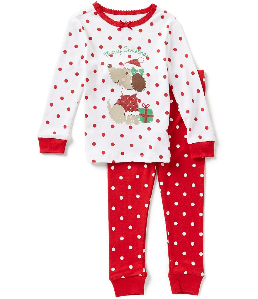 Little Me Baby Girls 12-24 Months Christmas Puppy-Appliquéd Pajama Top & Pants Set