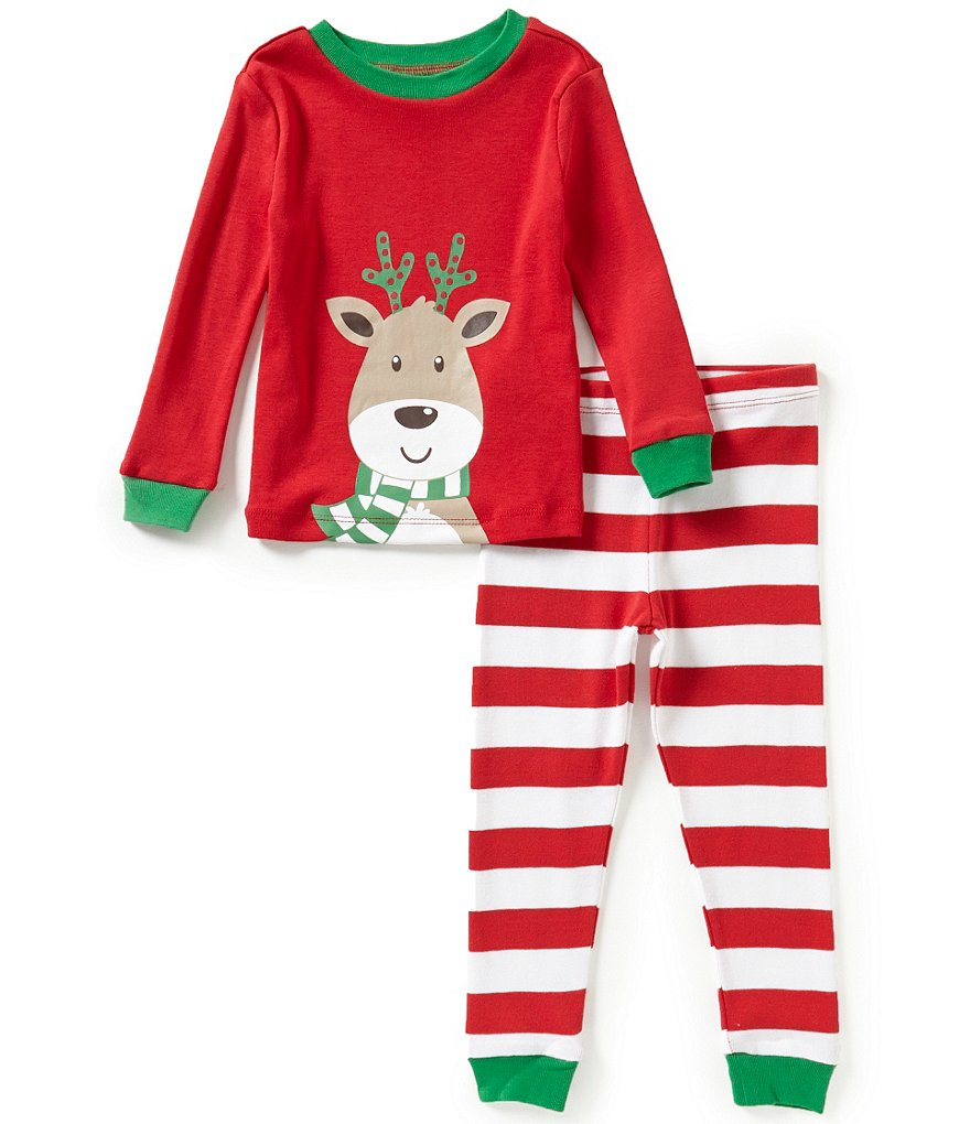 Little Me Baby Boys 12-24 Months Christmas Reindeer-Appliqued Pajama Top & Striped Pants Set