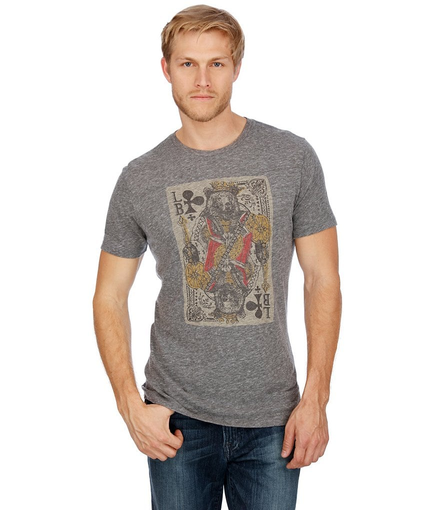 Lucky Brand Short-Sleeve Crewneck Bear Card Graphic Tee