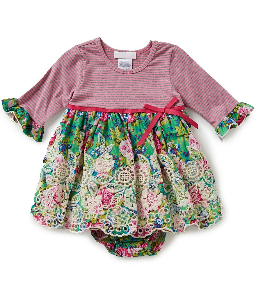 Bonnie Baby Baby Girls 12-24 Months Striped-Knit-Bodice Floral Skirt Dress
