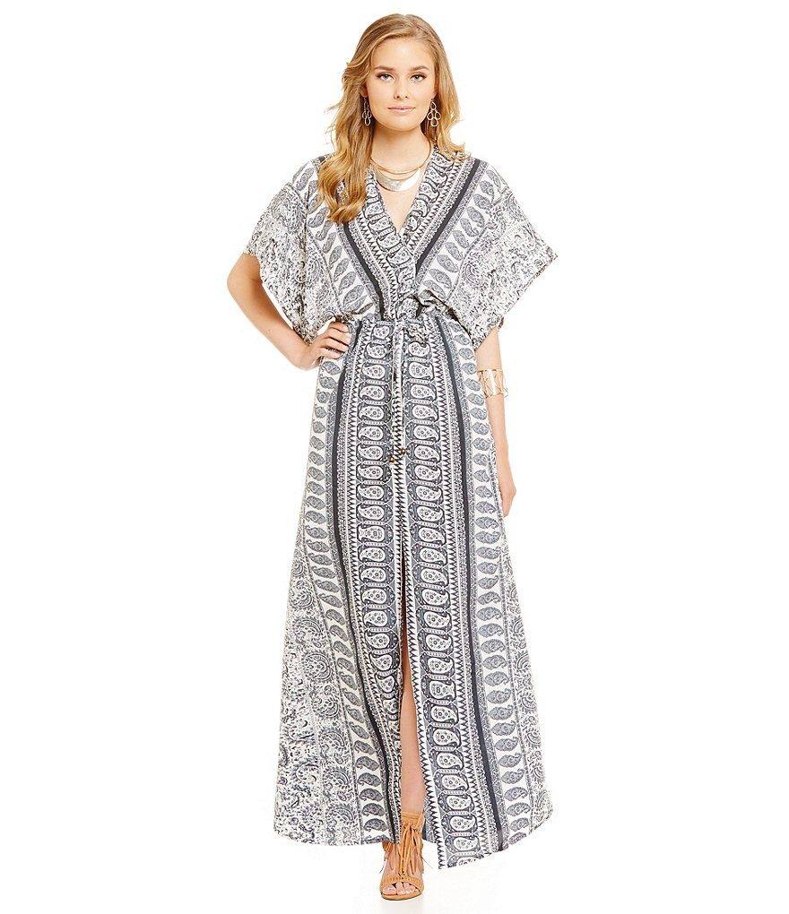 ELAN Printed Front V-Neck Short Sleeve Slit Maxi Dress