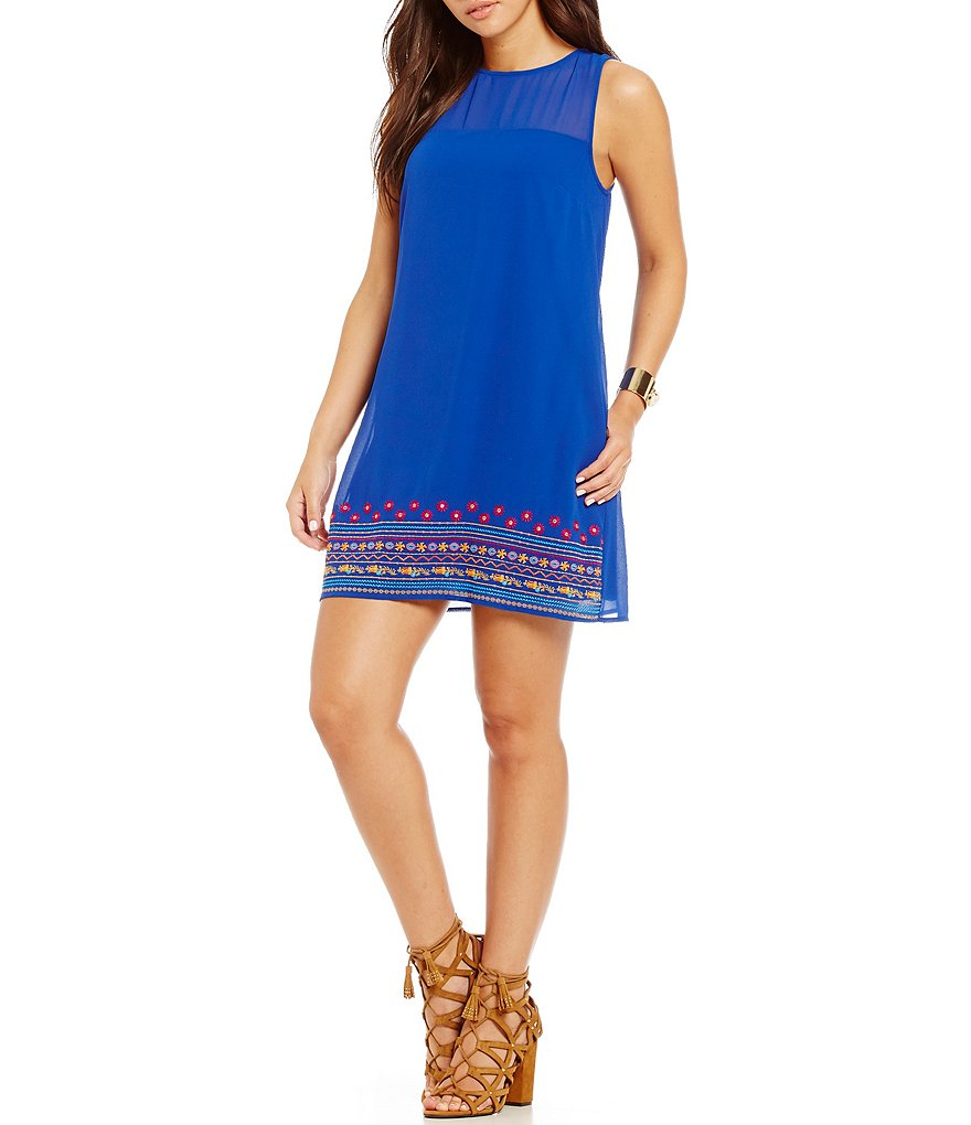 Xtraordinary Embroidered Border Hem Shift Dress