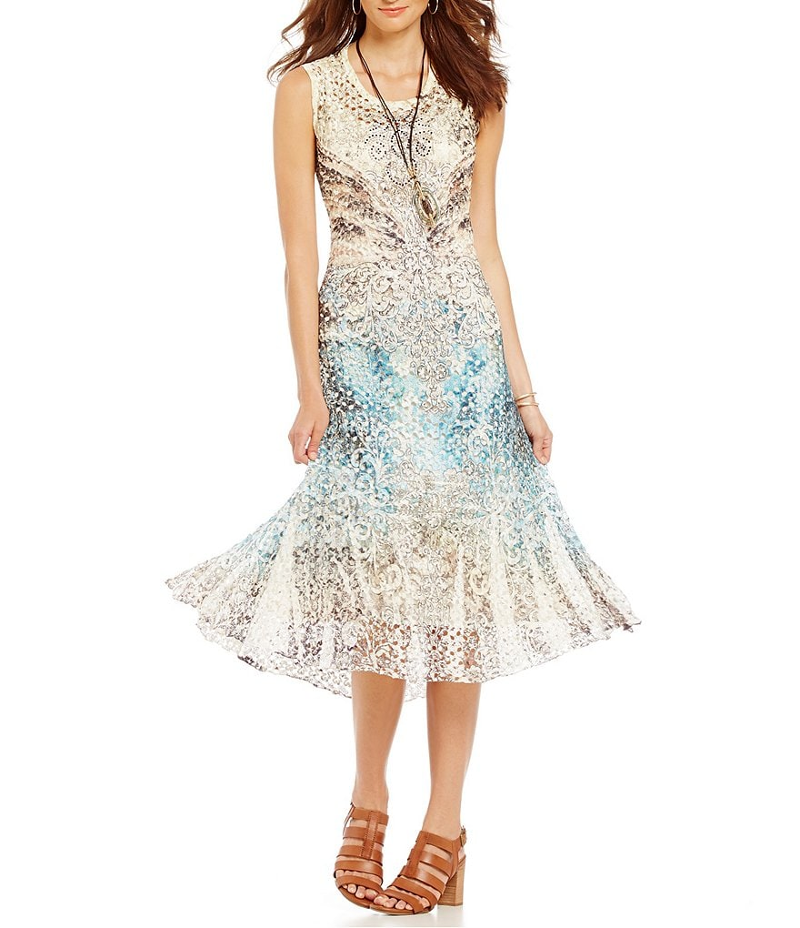 Reba Desert Mirage Cap Sleeve Printed Lace Dress