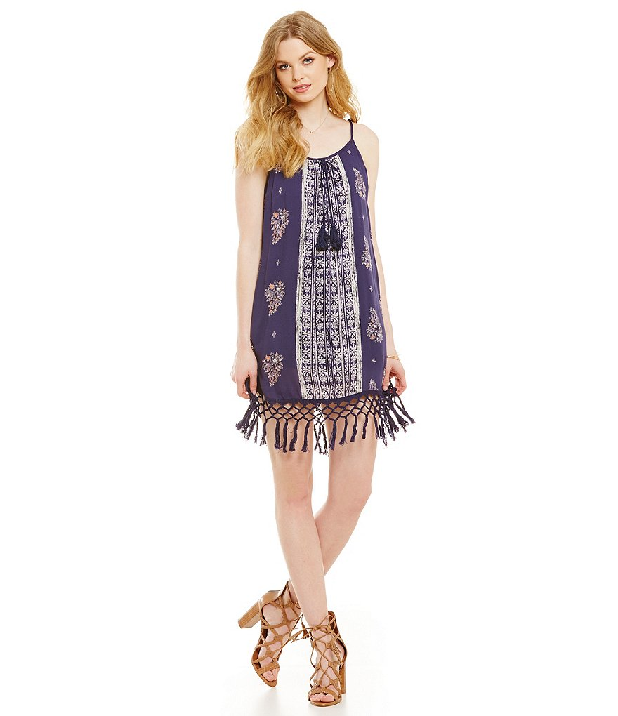 Band Of Gypsies Printed Fringe Hem Dress