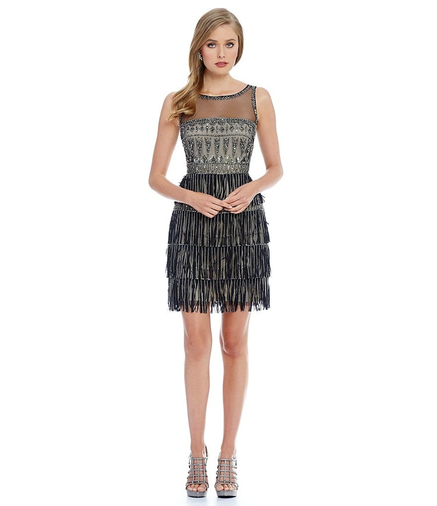 Adrianna Papell Layered Fringe Beaded Dress