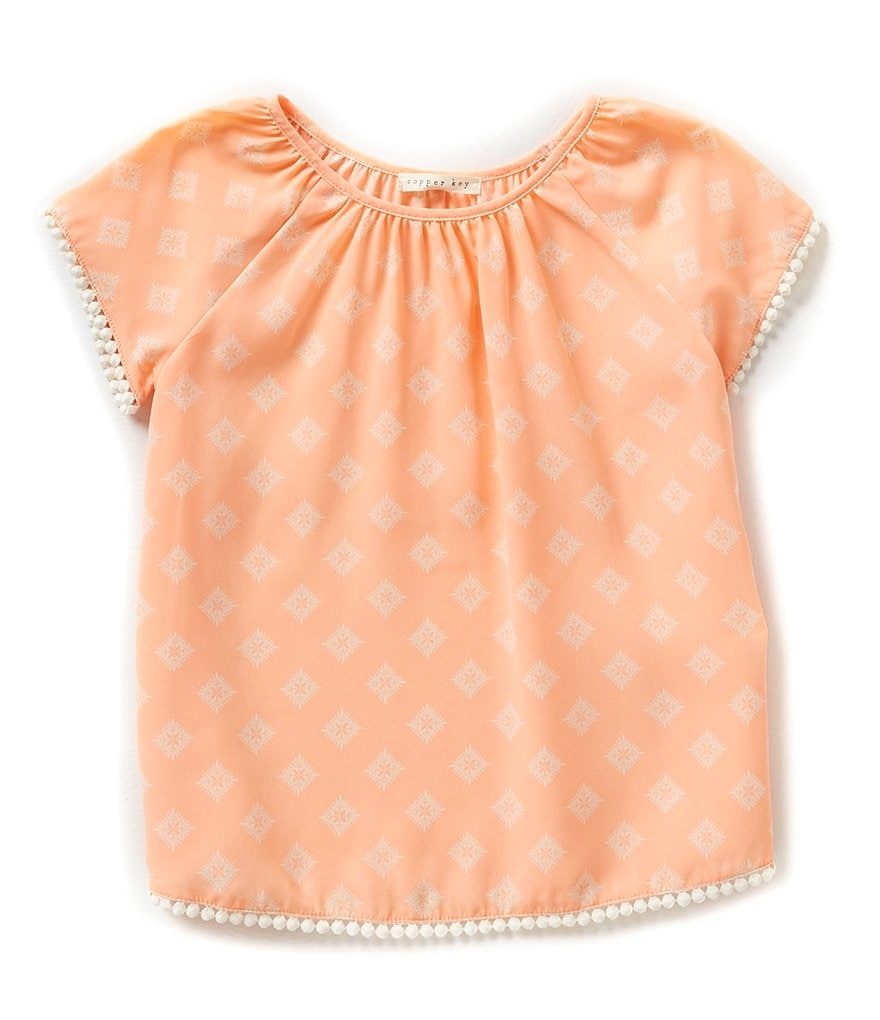 Copper Key Big Girls 7-16 Pom-Pom Trim Peasant Top