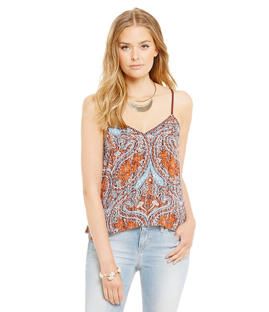 Band Of Gypsies Distressed Paisley Print Camisole