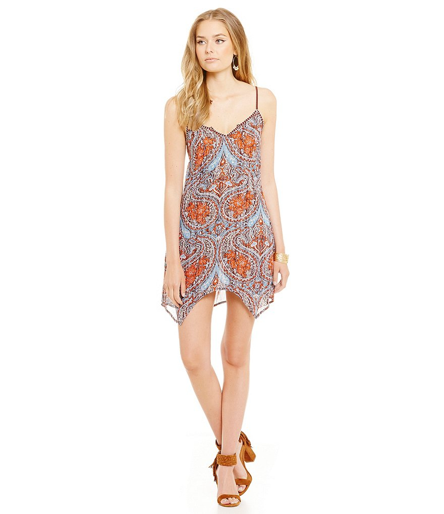 Band Of Gypsies Distressed Paisley Print Slip Dress