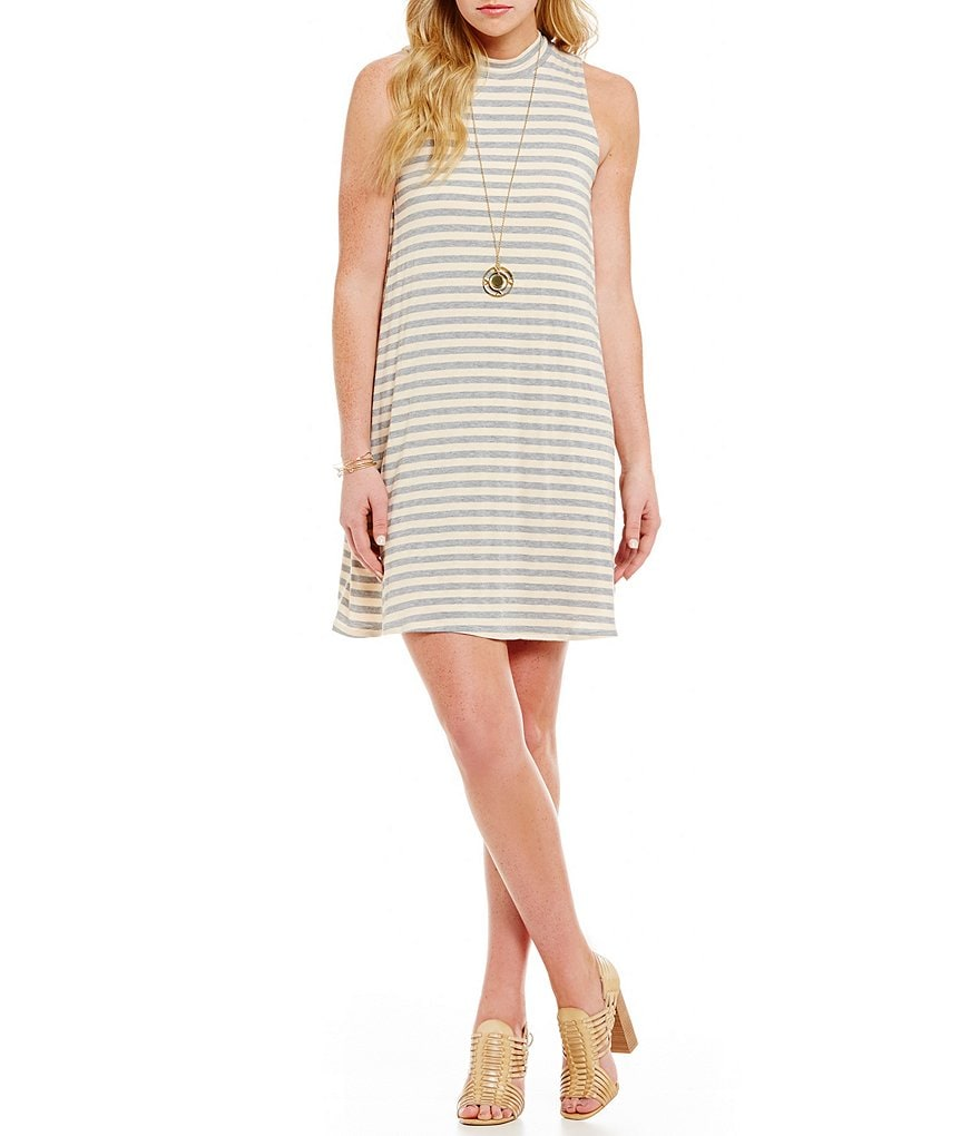 Moa Moa Mockneck Striped Boyfriend Tank Dress