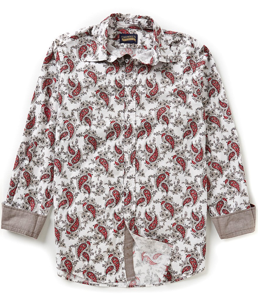 Cremieux Jeans Long-Sleeve Repeating Paisley Print Woven Shirt