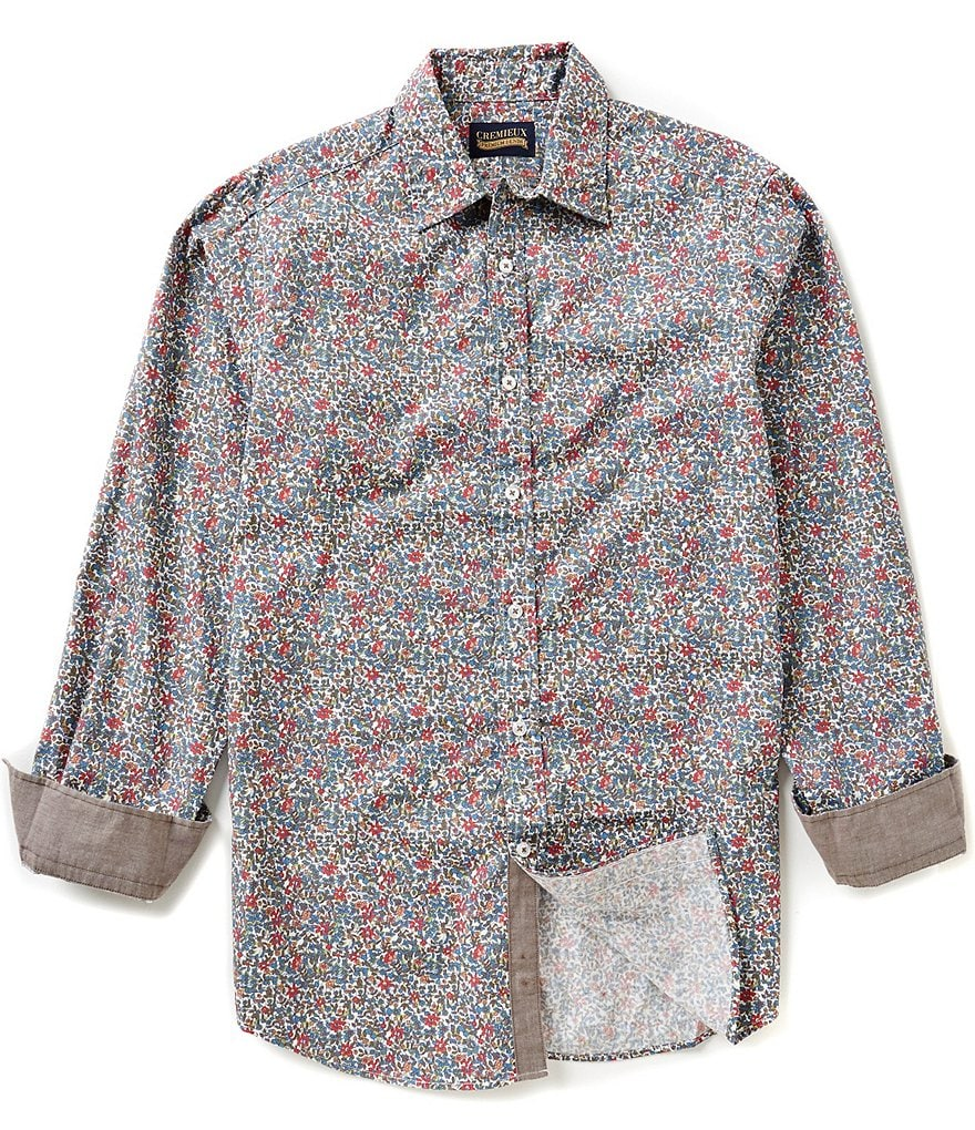 Cremieux Jeans Long-Sleeve Repeating Floral Print Woven Shirt