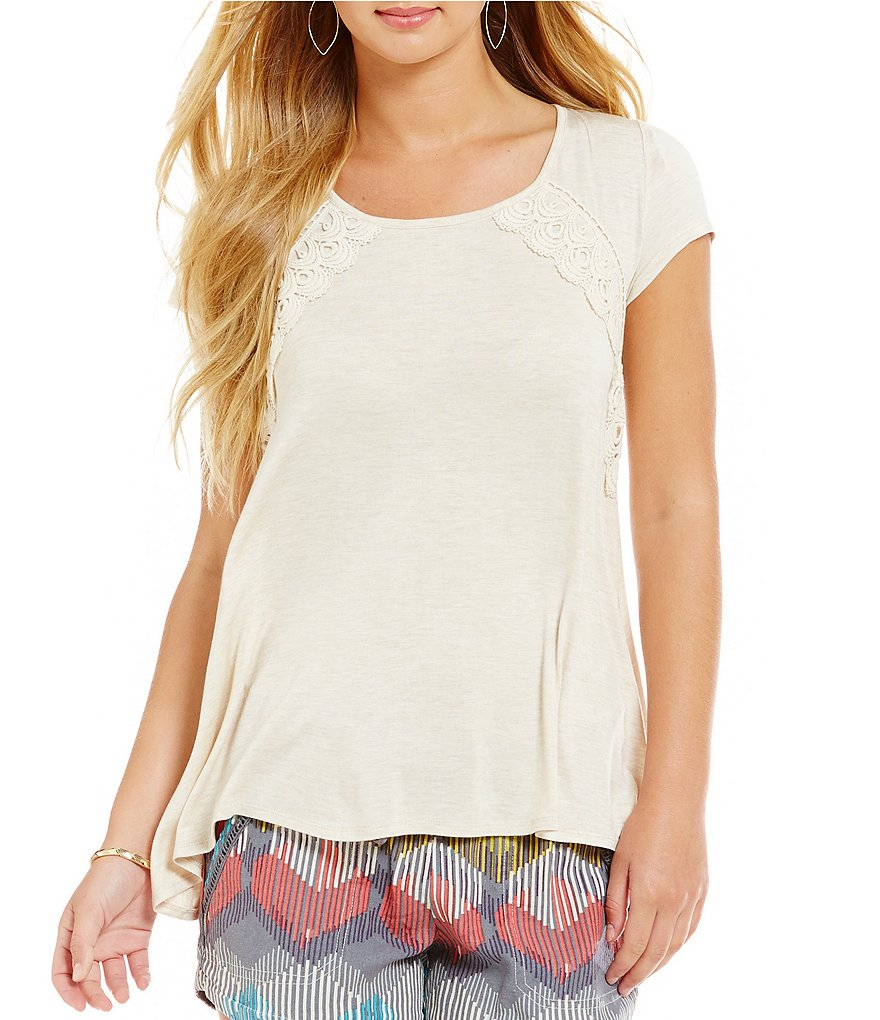 Jolt Lace-Up Back Lace Appliqué Super-Soft Knit Top