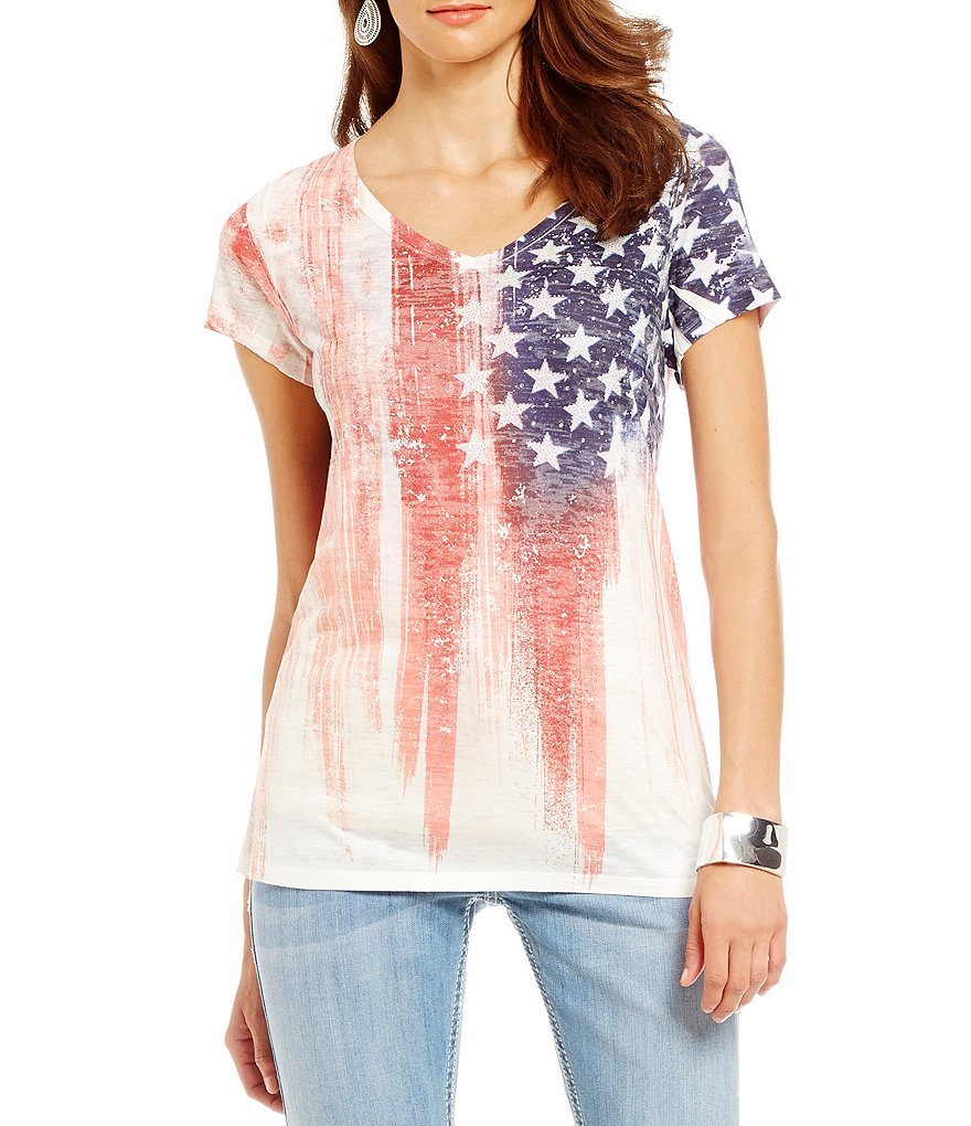 Reba Desert Mirage Short Sleeve Flag Top