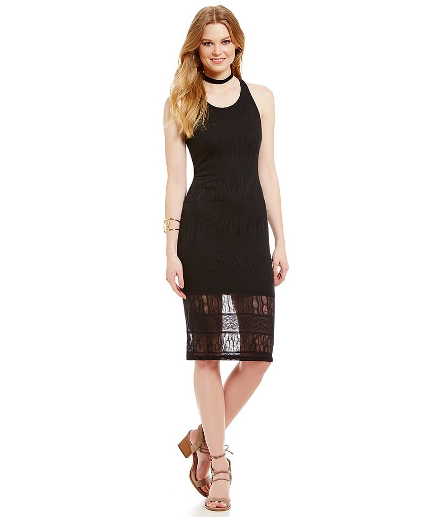 Buffalo David Bitton Sheer Lace Trim Hem Dress