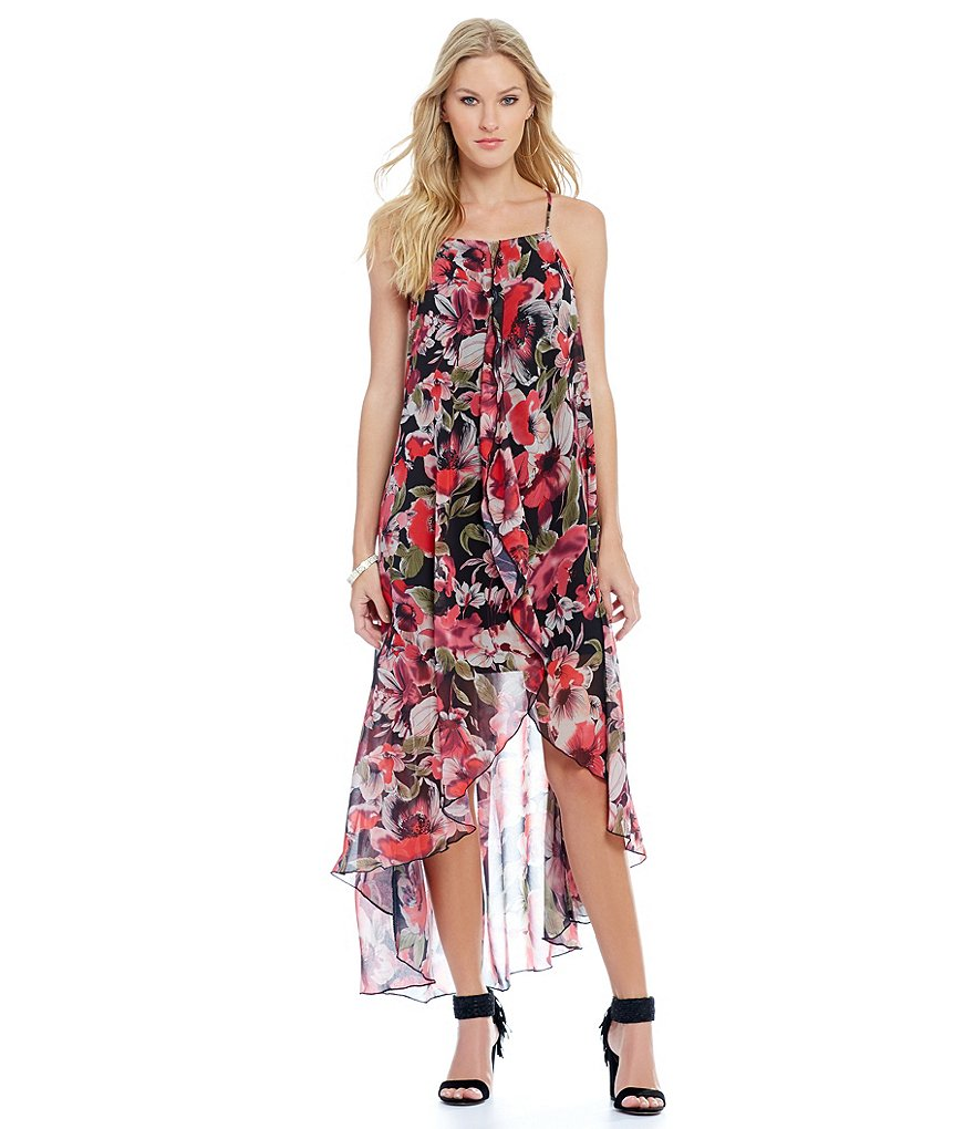 Buffalo David Bitton Chiffon Watercolor Print Dress