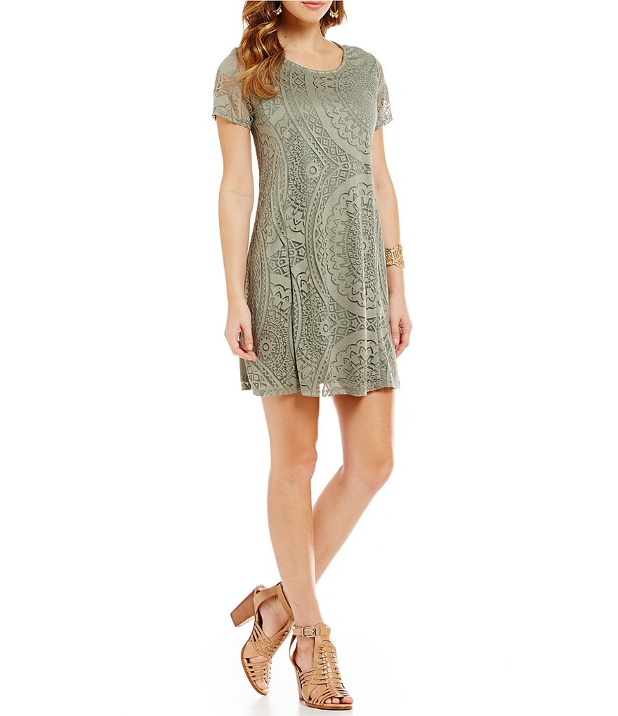 Sequin Hearts Sleeveless Burnout Knit T-Shirt Dress