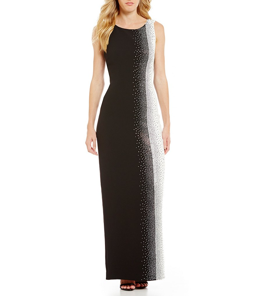 Calvin Klein Embellished Colorblock Gown