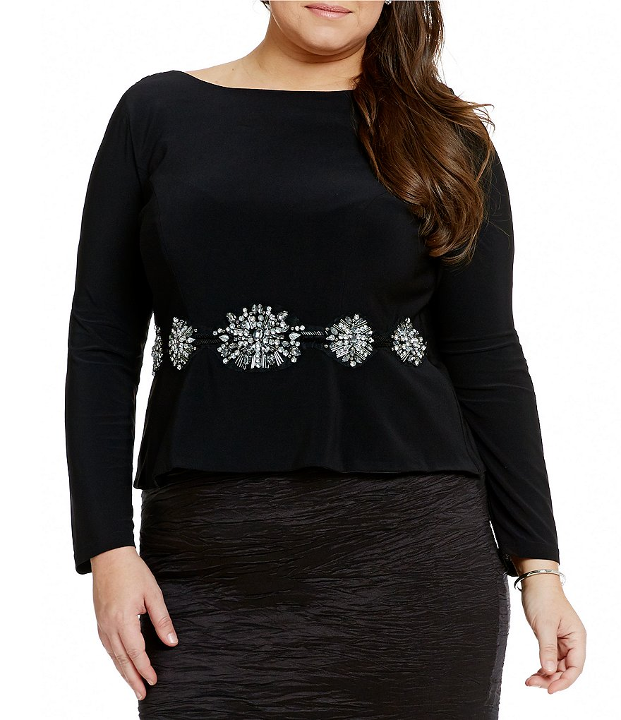 Cachet Plus Beaded Waist Matte Jersey Top