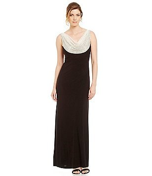 Cachet Petite Caviar Beaded Cowl Neck Gown