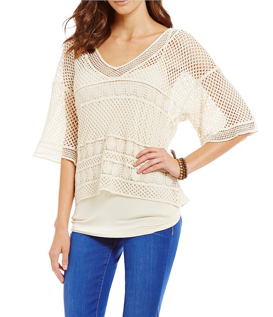 Democracy Novelty Crochet V-Neck Top with Knit Tank