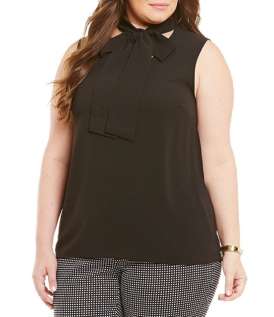 MICHAEL Michael Kors Plus Sleeveless Tie-Neck Blouse