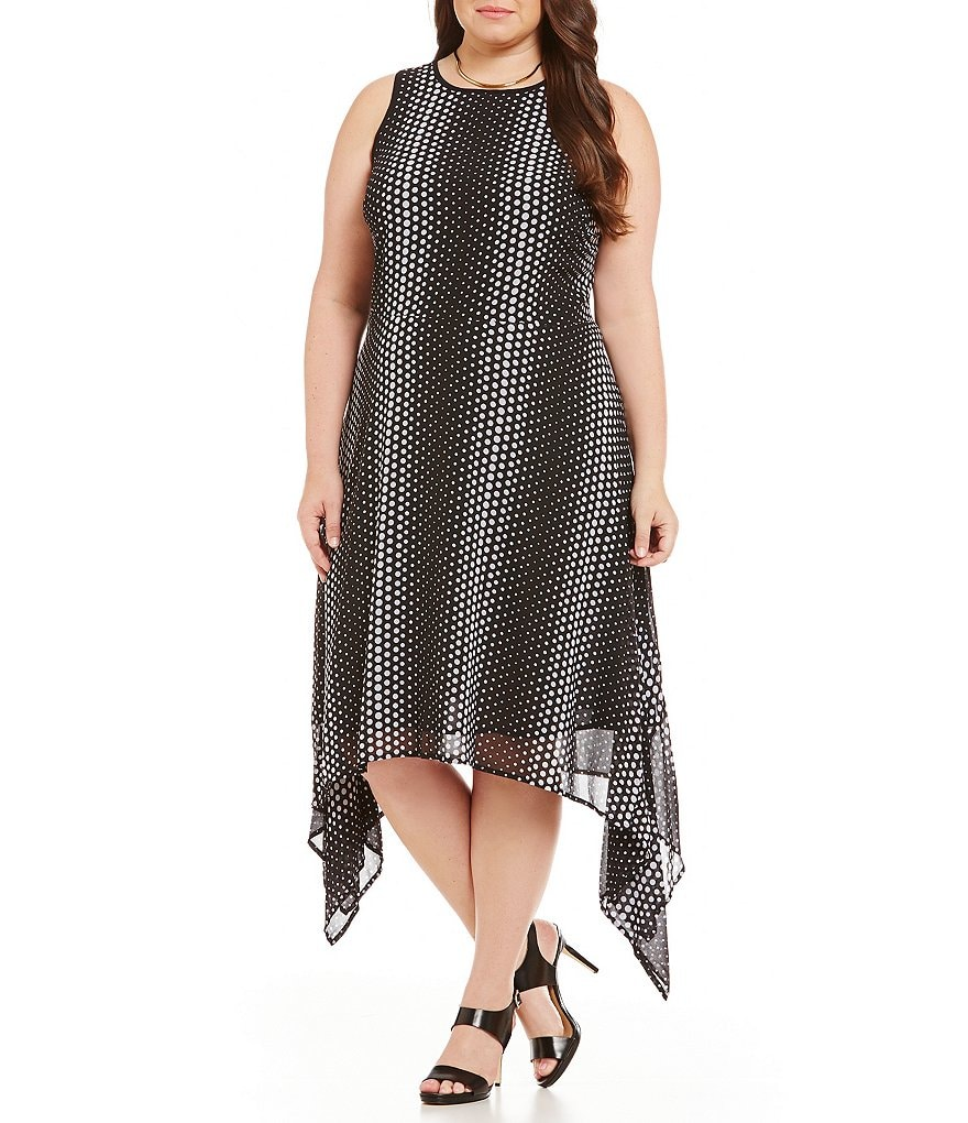 MICHAEL Michael Kors Plus Dot-Printed Georgette Sharkbite Hem Maxi Dress