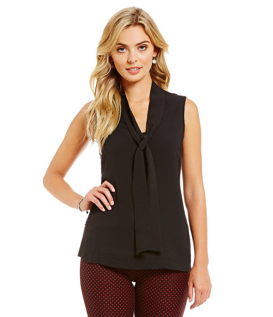 MICHAEL Michael Kors Sleeveless Tie-Neck Blouse