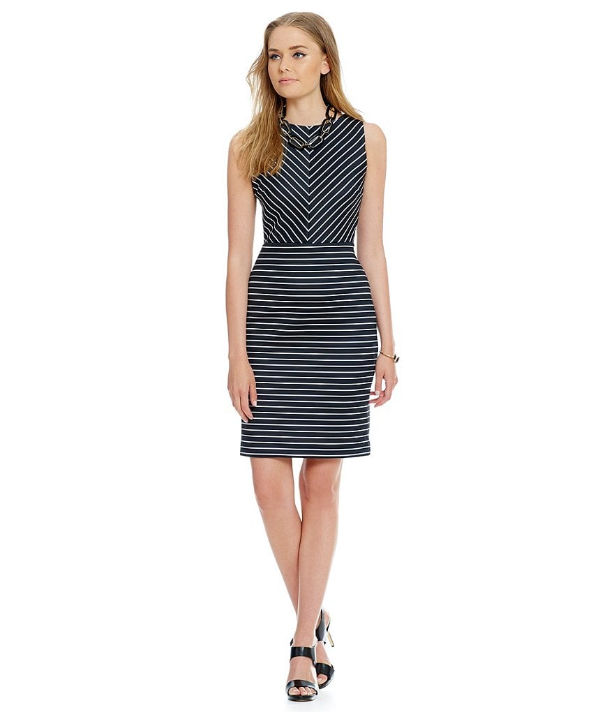 MICHAEL Michael Kors Seamed Stripe Scuba Knit Sheath Dress
