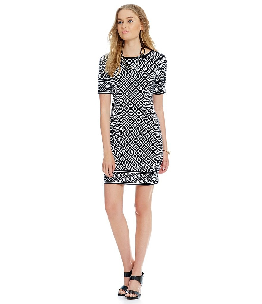 MICHAEL Michael Kors Diamond Geometric Border Print Sheath Dress