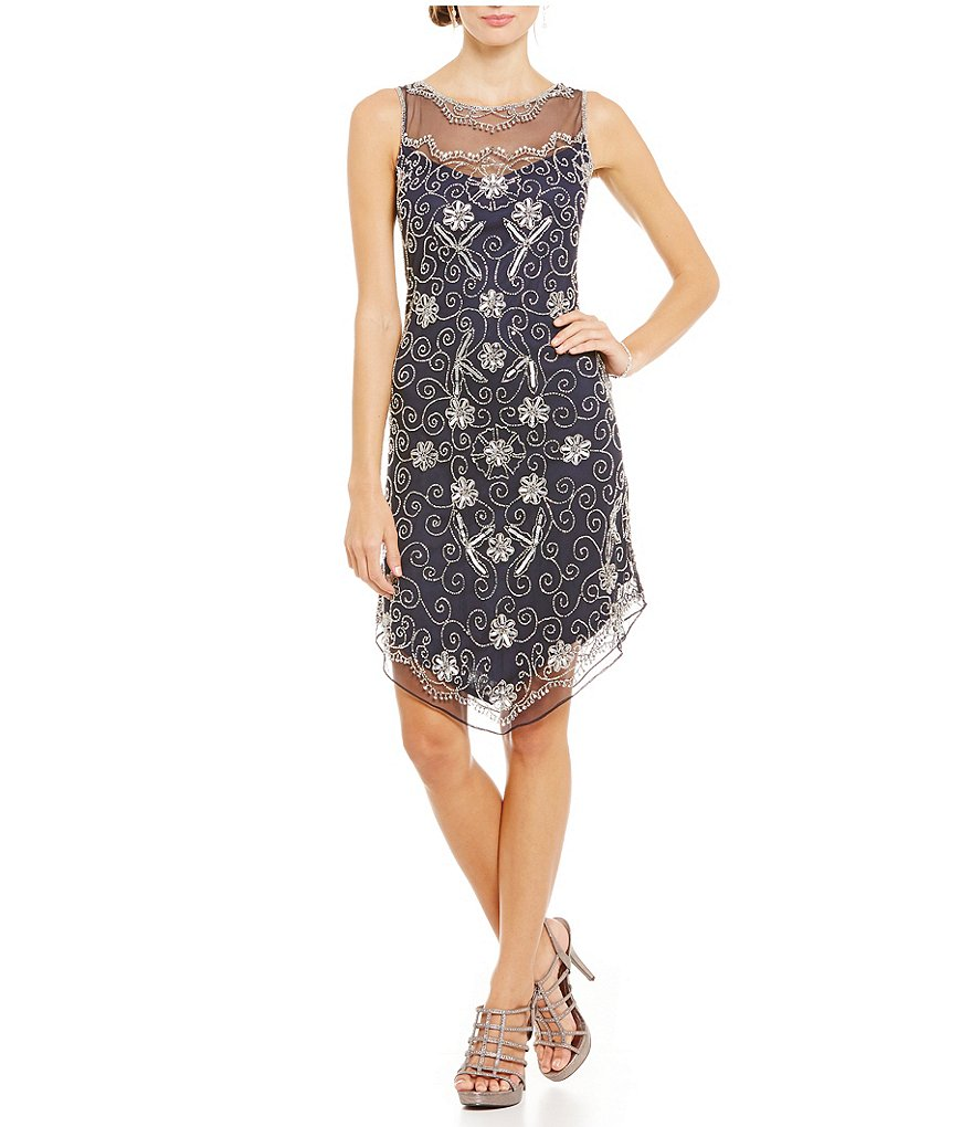 Pisarro Nights Beaded Hanky Hem Dress