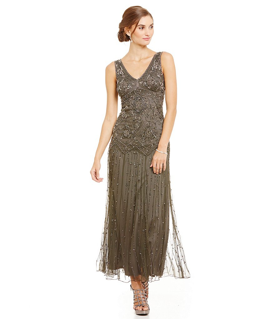 Pisarro Nights Beaded V-Neck Gown