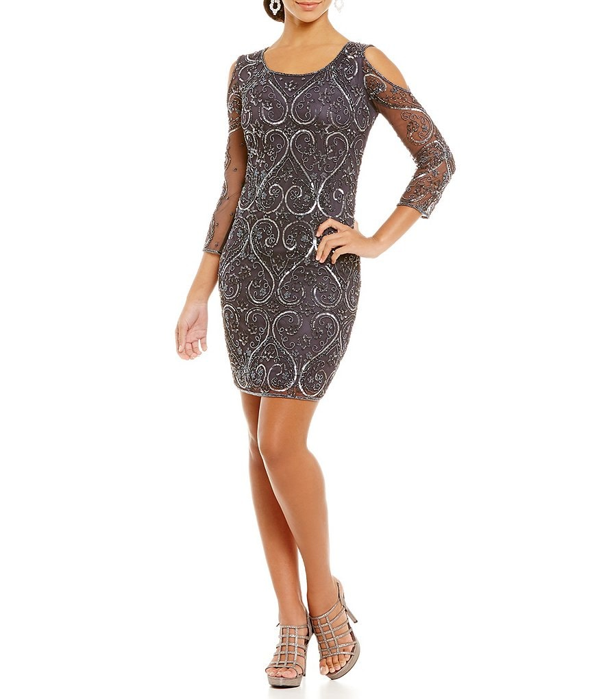 Pisarro Nights Beaded Illusion Sleeve Cold Shoulder Sheath Dress