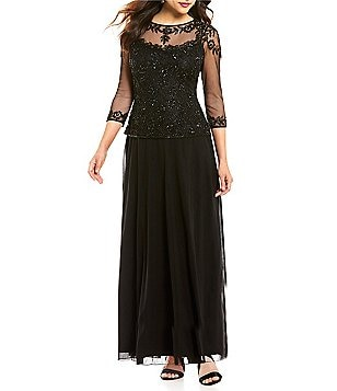 Pisarro Nights Illusion Beaded Mock Two-Piece Gown