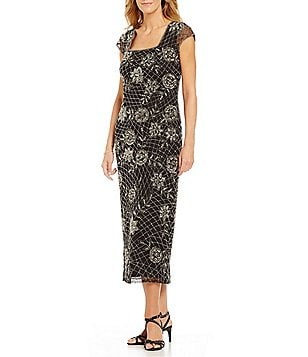 Pisarro Nights Beaded Square Neck Gown