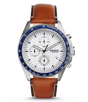 Fossil Sport 54 Chronograph Stainless Steel Leather Strap Watch