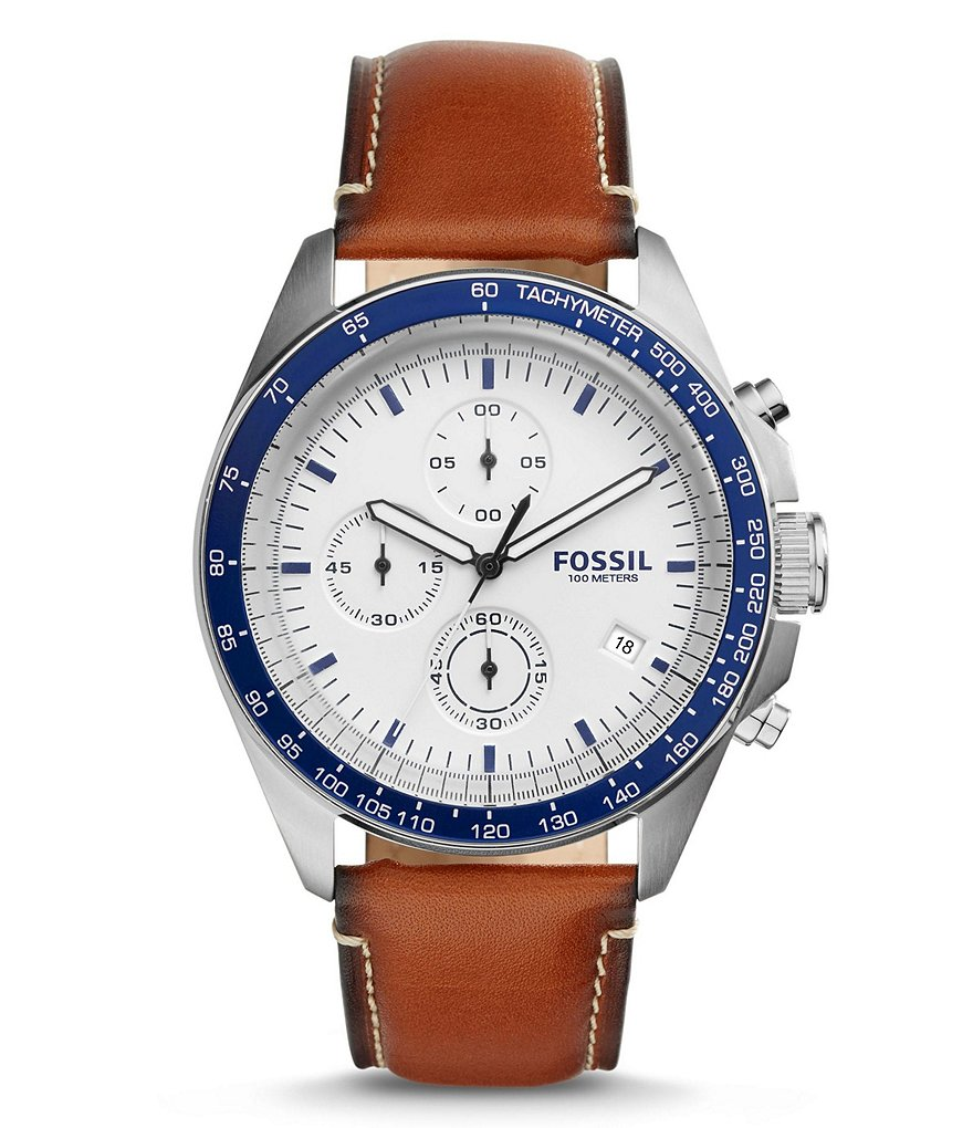 Fossil Sport 54 Chronograph Stainless Steel Dark Brown Leather Strap Watch