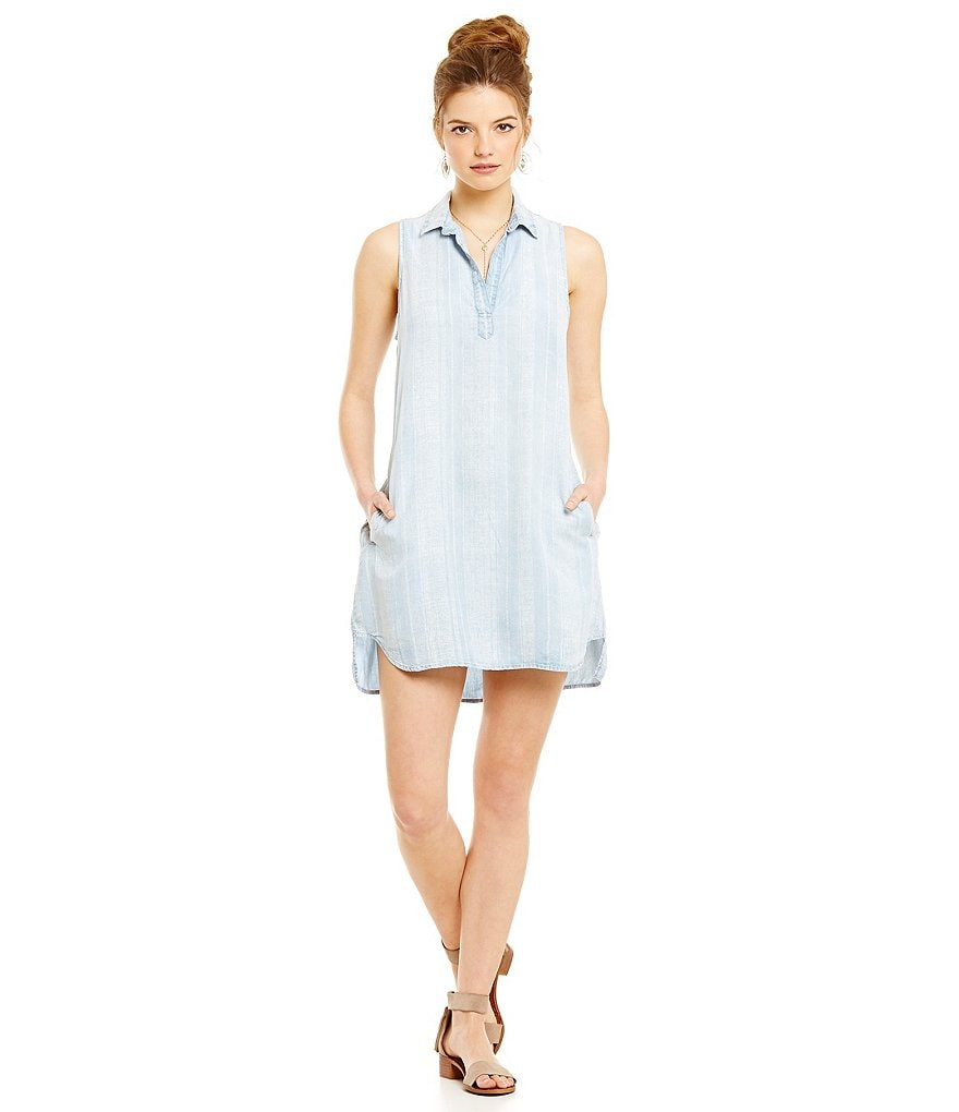 Chelsea & Violet Sleeveless A-Line Chambray Dress